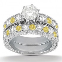 White & Yellow Diamond Engagement Ring & Band Palladium (1.61ct)