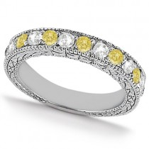 White & Yellow Diamond Wedding Band Antique Style 14K White Gold 0.91ct