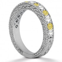 White & Yellow Diamond Wedding Band Antique Style 14K White Gold 0.91ct|escape