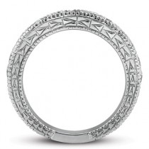 Antique Style Pave Set Wedding Ring Band 14k White Gold (1.00ct)|escape