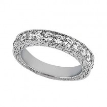 Antique Style Pave Set Wedding Ring Band 18k White Gold (1.00ct)