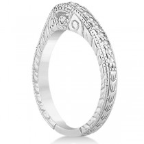 Antique Style Art Deco Diamond Wedding Band 18k White Gold (0.20ct)
