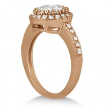 Pave Halo Diamond Engagement Ring Setting 14k Rose Gold (0.35ct)