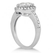 Pave Halo Diamond Engagement Ring Setting 14k White Gold (0.35ct)|escape