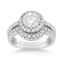 Halo Engagement Ring & Matching Wedding Band 14k White Gold (0.55ct)