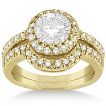 Halo Engagement Ring & Matching Wedding Band 14k Yellow Gold (0.55ct)
