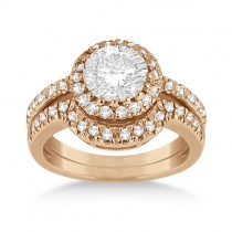 Halo Engagement Ring & Matching Wedding Band 18k Rose Gold (0.55ct)