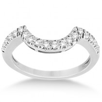 Pave Curved Diamond Wedding Band 18k White Gold (0.20ct)