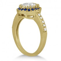Pave Halo Sapphire & Diamond Engagement Ring 14k Yellow Gold (0.45ct)