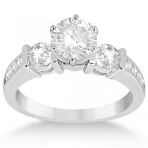 Bar Set Three-Stone Engagement Ring w/ Sidestones 14k W. Gold (0.60ct)