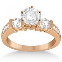 Bar Set 3-Stone Engagement Ring with Sidestones 14k Rose Gold (0.60ct)