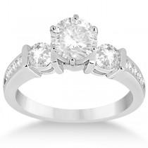 Bar Set Three-Stone Engagement Ring w/ Sidestones 18k W. Gold (0.60ct)