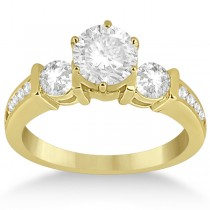 Bar Set Three-Stone Engagement Ring w/ Sidestones 18k Y. Gold (0.60ct)