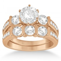 Channel & Bar-Set 3-Stone Diamond Bridal Set 14k Rose Gold (1.40ct)
