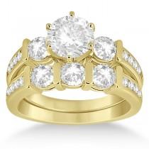 Channel & Bar-Set 3-Stone Diamond Bridal Set 14k Yellow Gold (1.40ct)