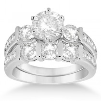 Channel & Bar-Set 3-Stone Diamond Bridal Set 14k White Gold (1.40ct)