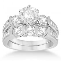 Channel & Bar-Set 3-Stone Diamond Bridal Set 14k White Gold (1.40ct)