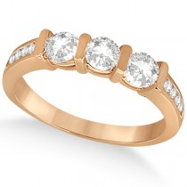 Channel and Bar-Set Three-Stone Diamond Ring 14k Rose Gold (0.80ct)