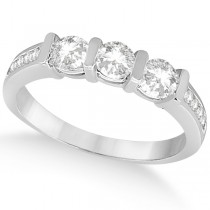 Channel and Bar-Set Three-Stone Diamond Ring 14k White Gold (0.80ct)