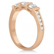 Channel and Bar-Set Three-Stone Diamond Ring 18k Rose Gold (0.80ct)