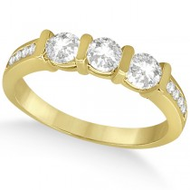 Channel and Bar-Set Three-Stone Diamond Ring 18k Yellow Gold (0.80ct)