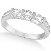 Channel and Bar-Set Three-Stone Diamond Ring Platinum (0.80ct)