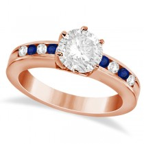 Channel Diamond & Blue Sapphire Engagement Ring 18K R Gold (0.40ct)
