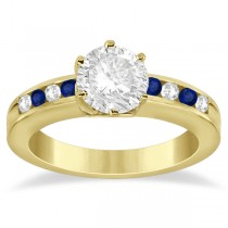 Channel Diamond & Blue Sapphire Engagement Ring 18K Y Gold (0.40ct)
