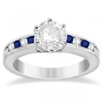 Channel Diamond & Blue Sapphire Engagement Ring Platinum (0.40ct)
