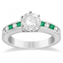 Channel Diamond & Emerald Engagement Ring 14K White Gold (0.40ct)