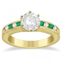 Channel Diamond & Emerald Engagement Ring 14K Yellow Gold (0.40ct)