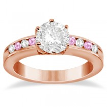 Channel Diamond & Pink Sapphire Engagement Ring 14K R Gold (0.40ct)