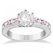 Channel Diamond & Pink Sapphire Engagement Ring 14K W Gold (0.40ct)