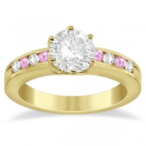 Channel Diamond & Pink Sapphire Engagement Ring 18K Y Gold (0.40ct)