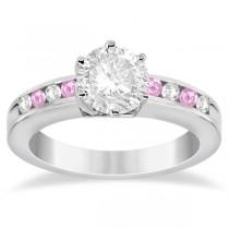 Channel Diamond & Pink Sapphire Engagement Ring Platinum (0.40ct)