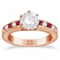 Channel Diamond & Ruby Engagement Ring 14K Rose Gold (0.40ct)