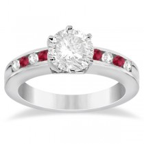 Channel Diamond & Ruby Engagement Ring 18K White Gold (0.40ct)