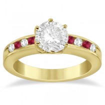 Channel Diamond & Ruby Engagement Ring 18K Yellow Gold (0.40ct)