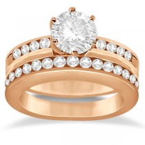 Classic Channel Set Diamond Bridal Ring Set 18K Rose Gold (0.72ct)