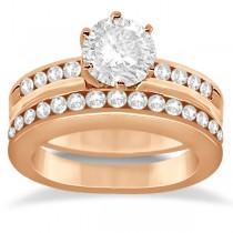 Classic Channel Set Diamond Bridal Ring Set 18K Rose Gold (0.72ct)