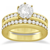 Classic Channel Set Diamond Bridal Ring Set 18K Yellow Gold (0.72ct)