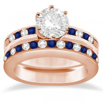 Semi-Eternity Blue Sapphire Gem Bridal Set 14K Rose Gold (0.96ct)
