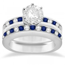 Semi-Eternity Blue Sapphire Gem Bridal Set 14K White Gold (0.96ct)
