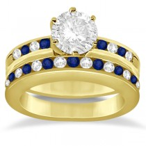Semi-Eternity Blue Sapphire Gem Bridal Set 14K Yellow Gold (0.96ct)