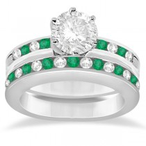 Semi-Eternity Emerald Gemstone Bridal Set 14K White Gold (0.96ct)