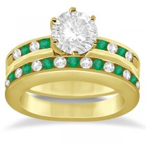 Semi-Eternity Emerald Gemstone Bridal Set 14K Yellow Gold (0.96ct)