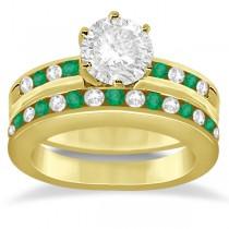 Semi-Eternity Emerald Gemstone Bridal Set 14K Yellow Gold (0.96ct)