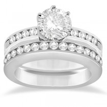 Classic Channel Set Diamond Bridal Ring & Band Palladium Set (0.72ct)