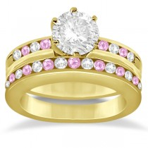 Semi-Eternity Pink Sapphire Gem Bridal Set 14K Yellow Gold (0.96ct)
