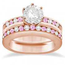 Semi-Eternity Pink Sapphire Gem Bridal Set 18K Rose Gold (0.96ct)